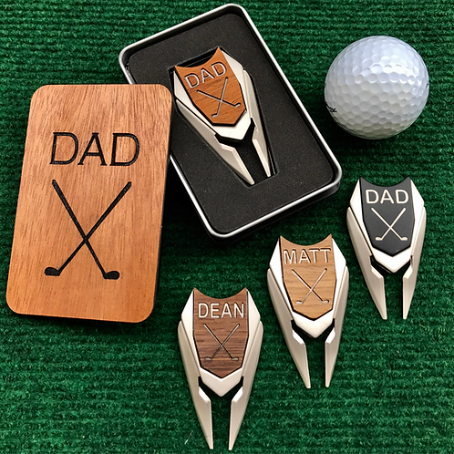 Engraved Wood Golf Ball Marker Divot Tool in Gift Box