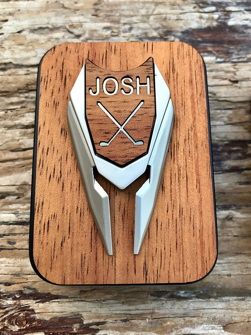 Golf Ball Marker & Divot Tool Hawaiian Koa Wood