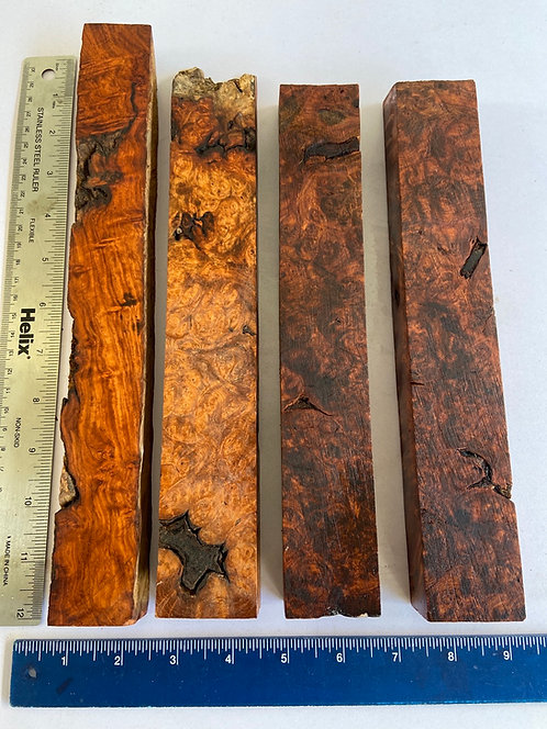 amboyna burl blank block redwood burl paduak wood rosewood pen blank knife scales pool cue blank