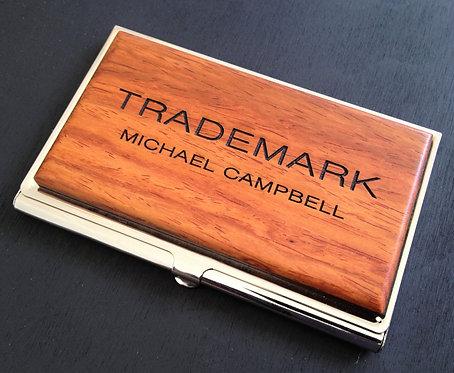 custom engrave business card case id holder wood card case