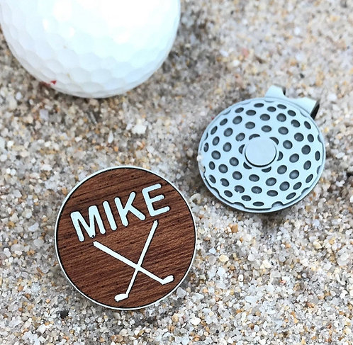 personalized custom engraved wood golf ball marker magnetic hat clip