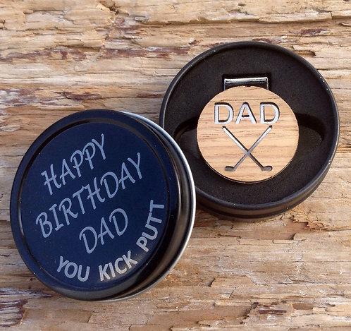 Golf Ball Marker Hat Clip in Happy Birthday DAD Gift Tin Box