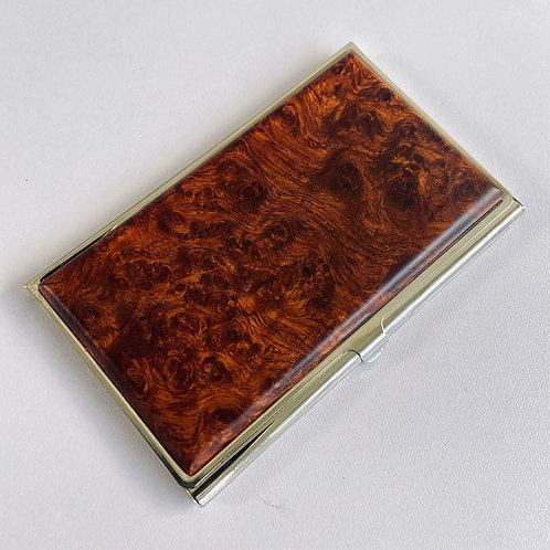 amboyna burl wood business card case id holder card case engraved