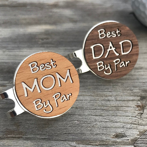 Golf Ball Marker & Hat Clip  Best MOM / DAD By Par