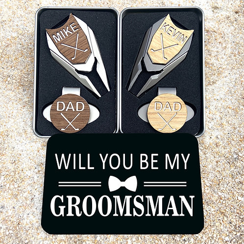 Personalized Golf Ball Marker Divot Tool Groomsmen Proposal Gifts