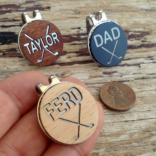 personalized custom engraved wood golf ball marker magnetic hat clip golf gifts for men