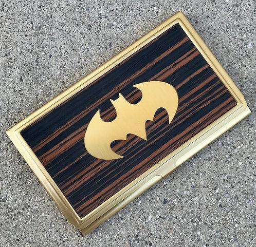 macassar ebony wood superman batman business wood card case id holder wood card case