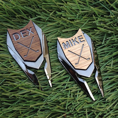 Personalized Golf Ball Marker Divot Tool Custom Engraved Wood Markers