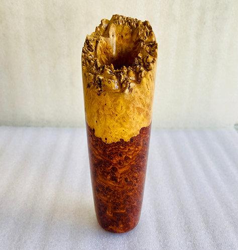 amboyna burl natural edge vase two tone amboyna burl rosewood redwood maple burl natural wood base