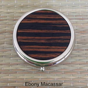 Round Pill Box - Exotic & Etched Woods