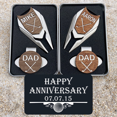 5th anniversary wood golf ball markers gift golf set for men