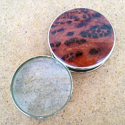 amboyna burl wood portable desktop magnifying glass