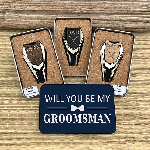 Golf Ball Marker & Divot Tool - Groomsmen Proposal