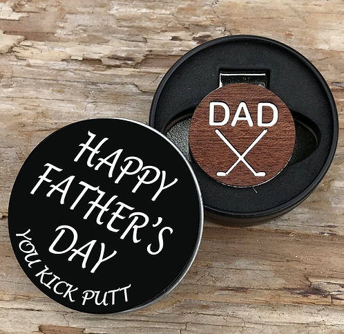 Golf Ball Marker Hat Clip in Happy Father's Day Gift Tin