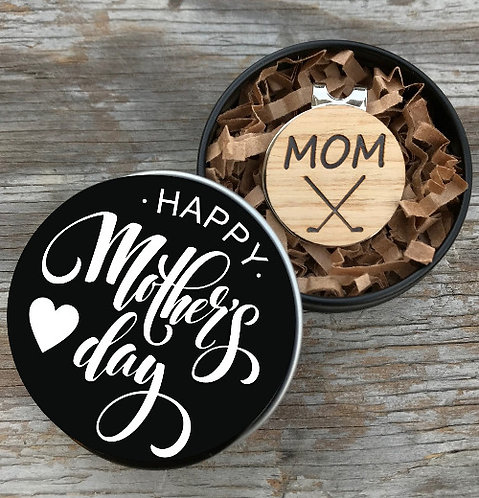 Golf Ball Marker & Magnetic Hat Clip in Happy Mother's Day Gift Tin