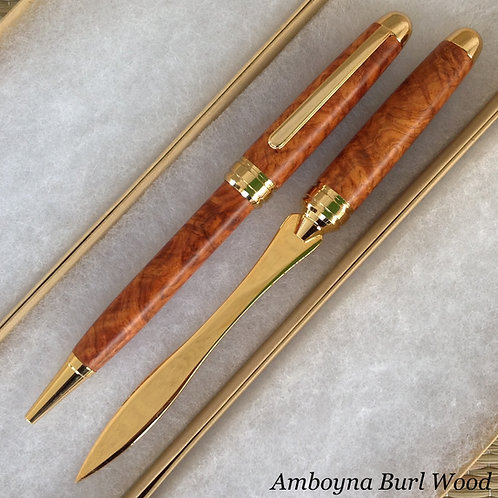 engraved wood pen letter opener set amboyna burl