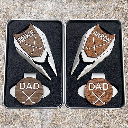 golf gift for men personalized engraved golf ball marker divot tool combo set
