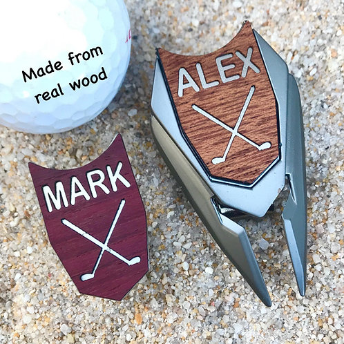 Wood Personalized Golf Ball Marker Custom Engraved Divot Tool