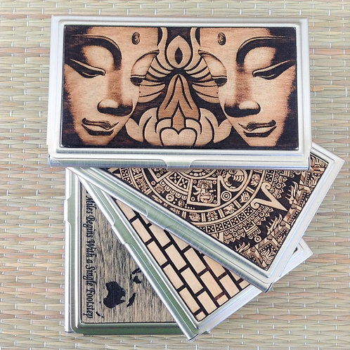 buddha aztec engraved wood business card case id holder card
