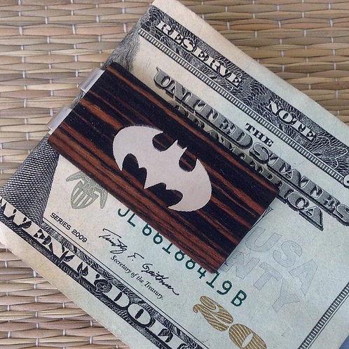 Batman or Superman Wood Money Clip