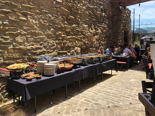 The Biergarten catered food table
