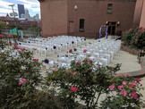 The Terrace empty chairs at wedding ceremony