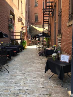 The Biergarten outdoor tables