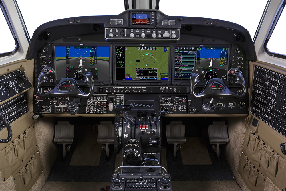 Photography of the Beechcraft King Air 350 cockpit with the Rockwell Collins Pro Line Fusion integrated flight deck.