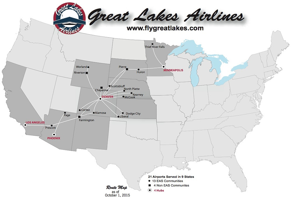 Great Lakes Airlines routes