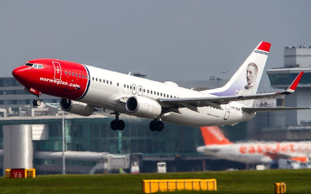 Norwegian airlines flight taking off