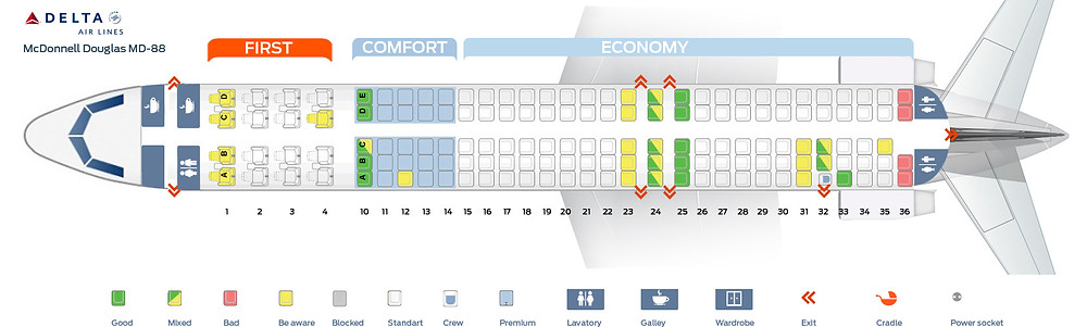 Delta MD-88 Seating