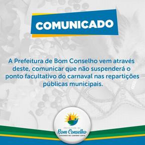 COMUNICADO DA PREFEITURA DE BOM CONSELHO-PE