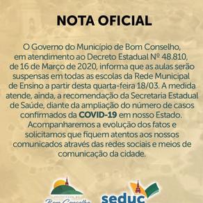 NOTA OFICIAL DA SECRETARIA DE EDUCAÇÃO