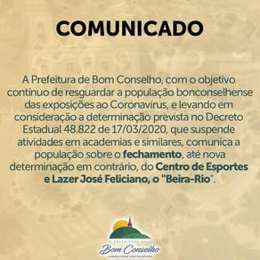 COMUNICADO DA PREFEITURA DE BOM CONSELHO