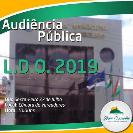 PREFEITURA DE BOM CONSELHO REALIZARÁ AUDIÊNCIA PÚBLICA SOBRE LDO 2019