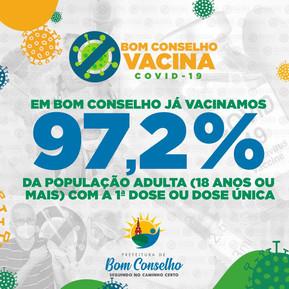 BOM CONSELHO JÁ VACINOU 97,2% DA POPULAÇÃO DE 18 ANOS OU MAIS COM A 1ª DOSE OU DOSE ÚNICA