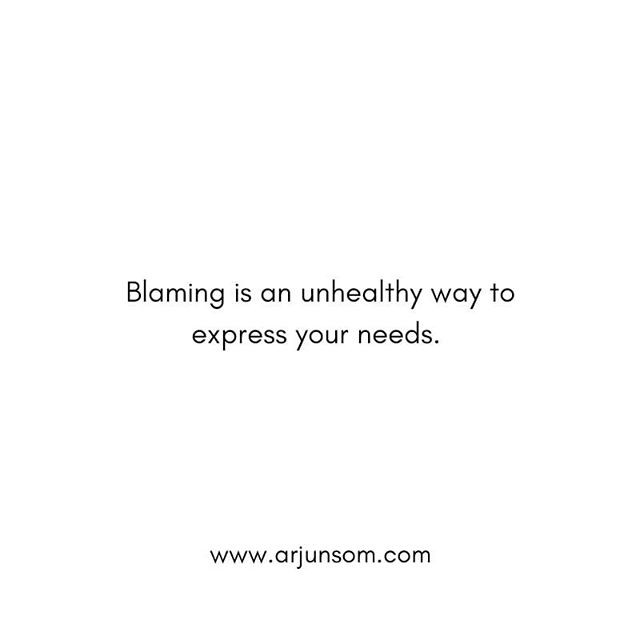 Each time you blame your partner, it is not about your partner's action as much as it is about your needs unmet.  There is pain beneath your blame, and beneath the pain is an unmet need. Instead of expecting your partner to solve the riddle and understand your needs, express it with as much clarity as you can. Share what is it that you need, and how it makes you feel to not have your needs met.  You don't have to feel shy or apologetic about your needs. There is no couple who grew closer through blaming.