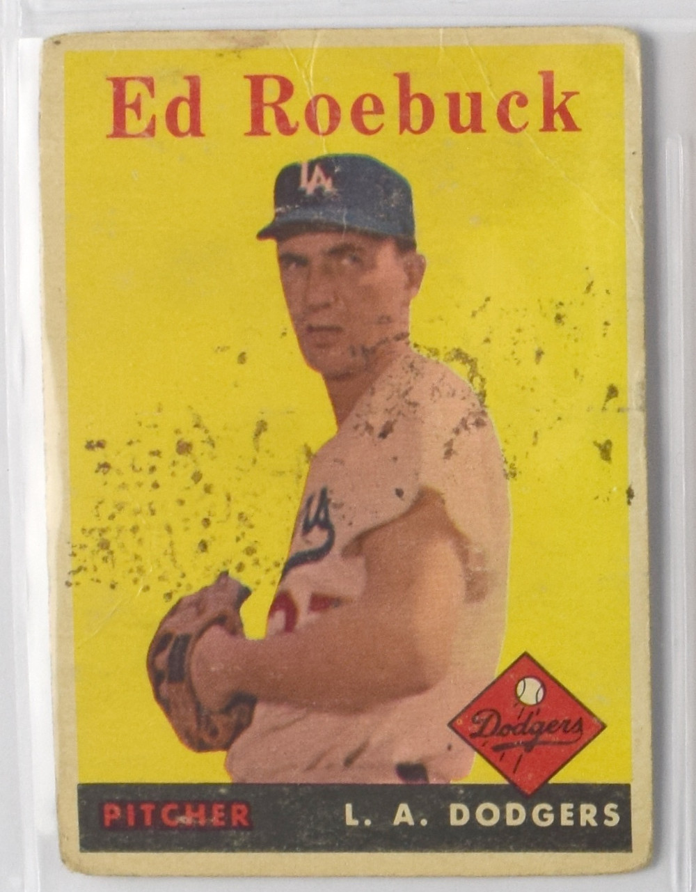 Soiled Ed Roebuck baseball card
