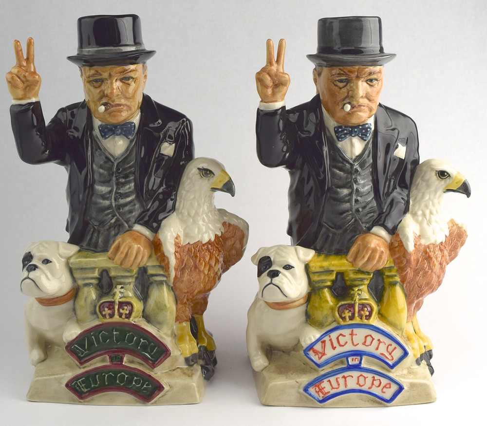 "Winston Churchill Toby jugs ""Victory Europe"""