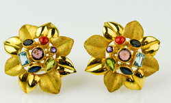 Mino Veloci 18K Gold Multigem Floral Earrings