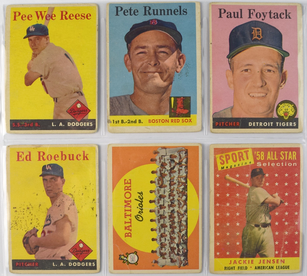 Picture of vintage baseball cards with Pee Wee Reese, Pete Runnels, Paul Foytac, Ed Roebuck