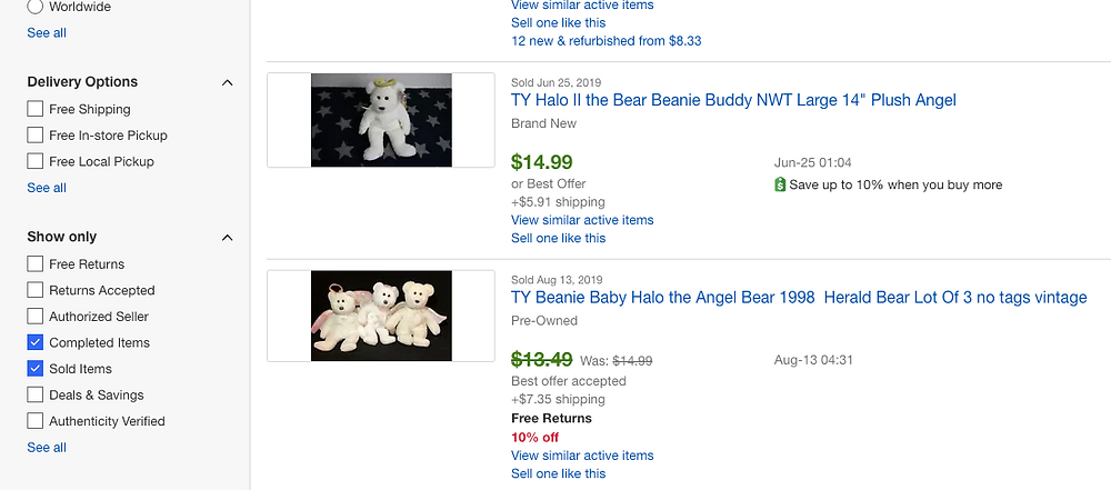 sold Beanie Baby Halo Bears