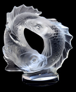 Lalique Two Poissons Sculpture