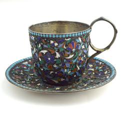 Russian 84 Silver Cloisonné Enamel Teacup & Saucer