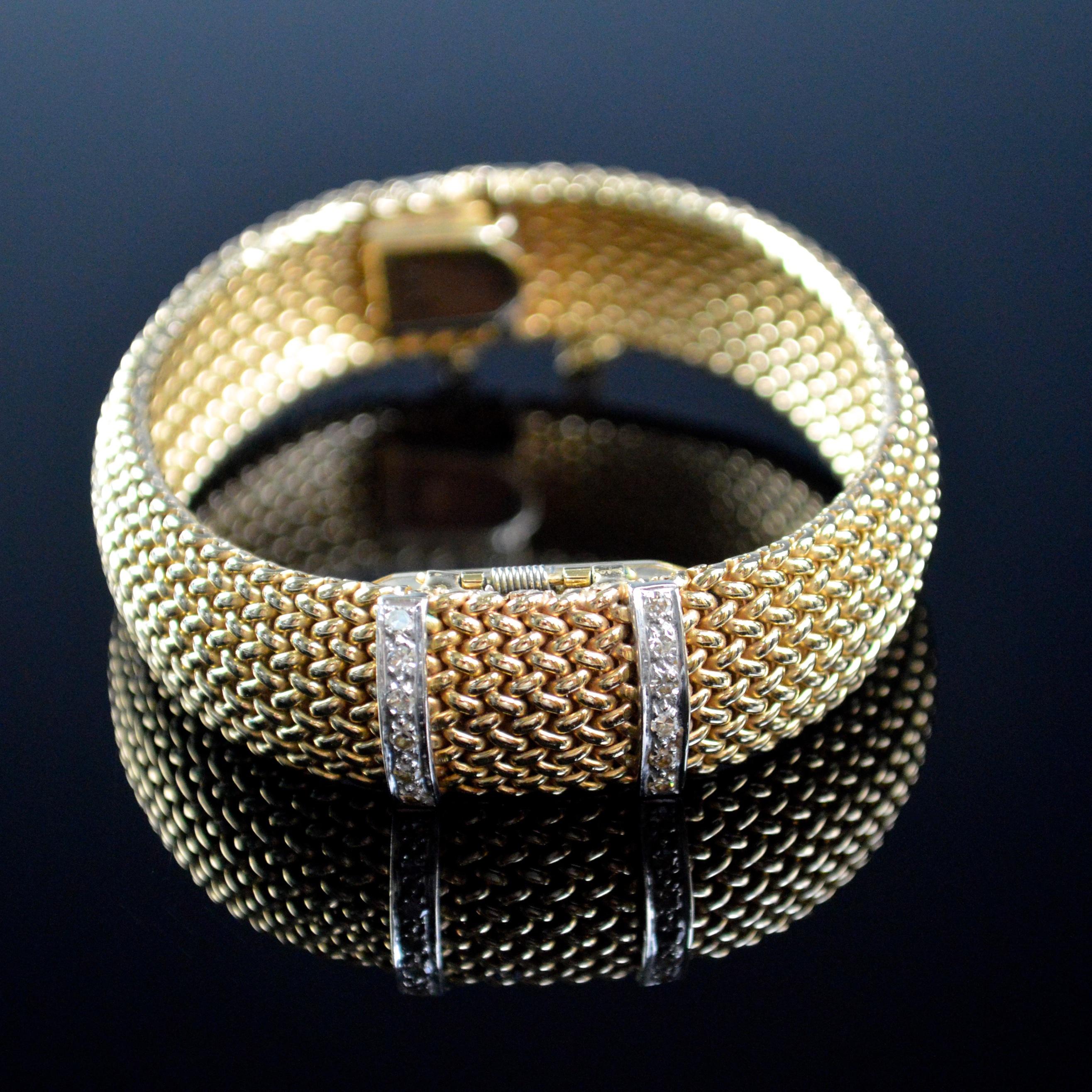 14K gold & Diamond fliptop watch