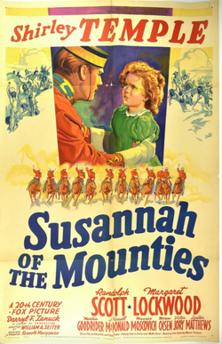 1939 Susannah of the Mounties Shirley Temple Film Poster
