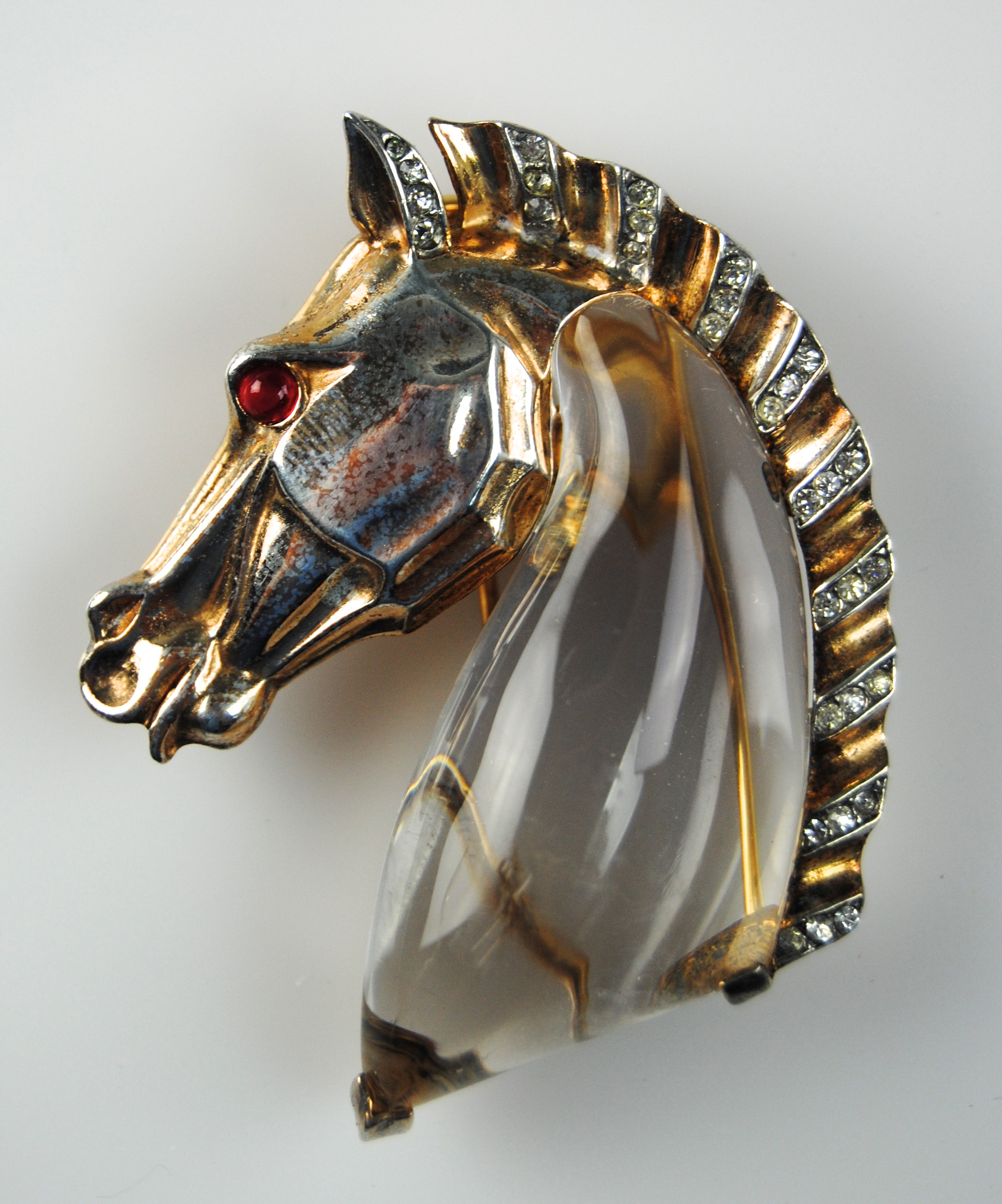 Trifari Sterling Jelly Belly Horse Brooch