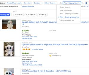 eBay drop down menu