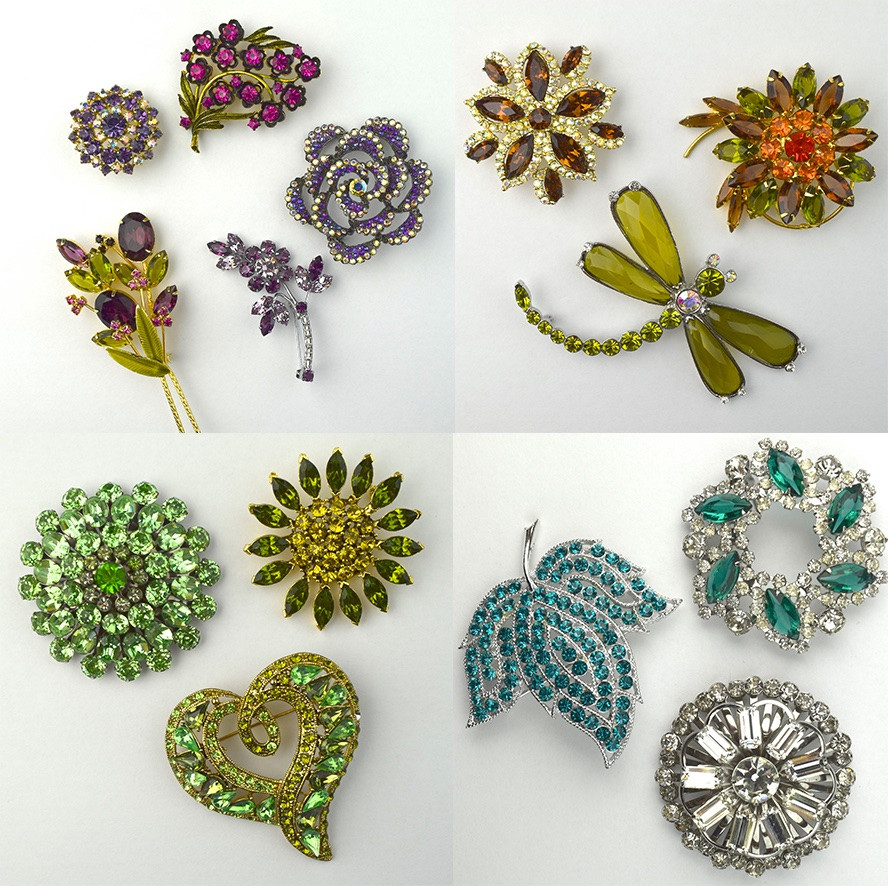 collection of Trader Chris Consignments rhinestone pins