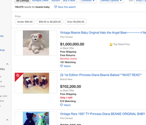 $1000,000 listing for Halo the Angel Bear Beanie Baby